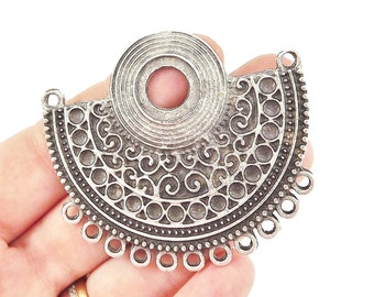 Ethnic Semi Circle Focal Collar Pendant Necklace Connector with Loops - Matte Antique Silver Plated - 1PC
