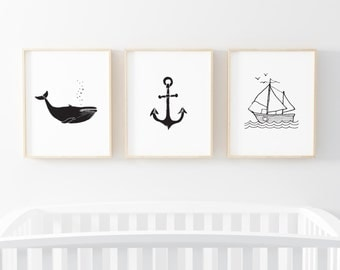 PRINTABLE Nursery Art - Set Of Three - Nautical - Nursery wall art - Black White - Whale - Sail Boat - Minimalist Nursery Decor - SKU:1282