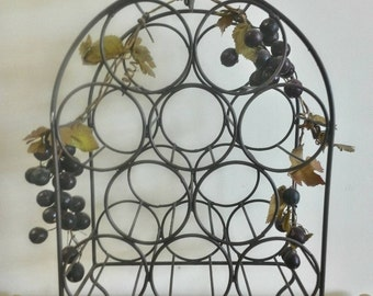 Brown Metal Grapevine 10 Bottle Wine Rack, Wood Handle, Footed Curved Legs