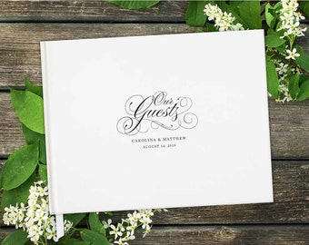 Be Our Guest Horizontal Wedding Guest Book with Blank Pages; Personalized, Script