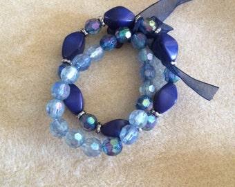 Stretch Bracelet Set with Organza Ribbon