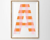 Alphabet Series | Blush Check | Art Print Poster