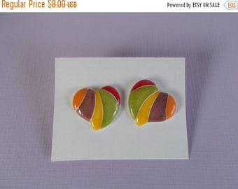 sale Vintage Small  Mod Multi Color Metal Enamel Heart Pierced Earrings //6
