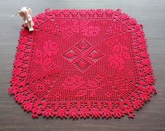Red Square Filet Crochet Doily| Red Lace Crochet Doily|Red Crochet Doily With Edging