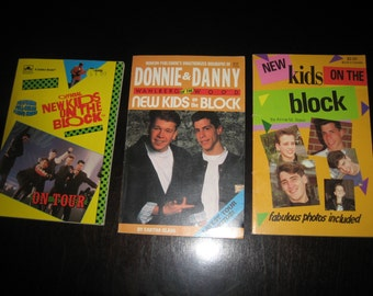 Lot of 3 - NEW KIDS on the BLOCK - Books - Novels 1989-1990 - Donny & Danny, On Tour and nkotb - b Anne Raso - with Fabulous Photos Included