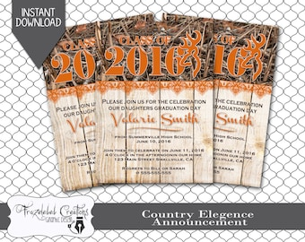 Country Elegance -  Graduation Announcement -- Instant Download