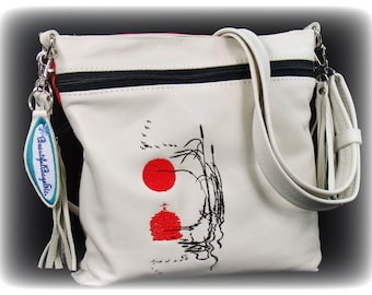 Cross body Leather Bag - White Leather Messenger Bag - Ivory Leather Shoulder Bag - Red and White Handbag