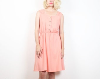 Vintage 70s Dress Peach Sundress Apricot Pink Day Dress 1970s Dress Mini Dress Elastic Waist Classic Pretty Simple Shirt Dress M Medium L