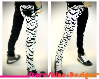 BJD MSD 1/4 Doll Clothing - White and Black Bats Print Skinny Pants