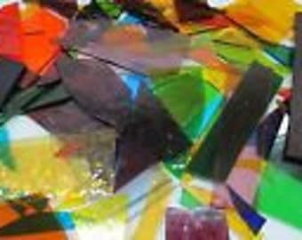 TRANSLUCENT / Cathedral Mixed Scrap Glass from stained Glass Shop for Mosaic work or art project in glass 1.5 Lbs