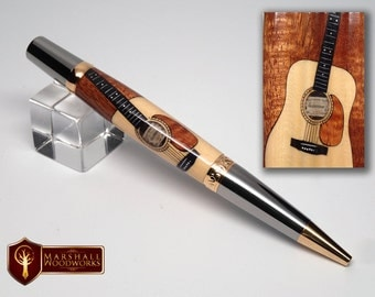Acoustic Guitar Wood Pen with Guitar Pen Case and Free Guitar