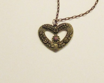 Necklace, charm style, heart, embossed heart, brass, golden, flower, chain, C, jewelry