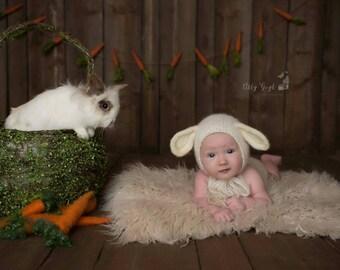 Sitter Lamb Bonnet, Newborn Lamb Bonnet, Felted Lamb Bonnet, Easter Photoprop, Animal Bonnet, Sitter Bonnet with optional matching romper
