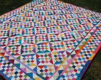 Scrappy Twin, Double or even Queen Bed Quilt Pinwheels and squares 77 inches by 86 inches bright colours