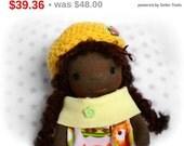 Waldorf doll, waldorf pocket doll, christmas gift, waldorf inspired doll, african american doll, ethnic doll, miniature doll, dollhouse doll