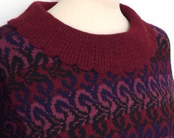 Vintage sweater red maroon scallop petal collar boho paisley festival knit jumper unusual neck 70s 80s