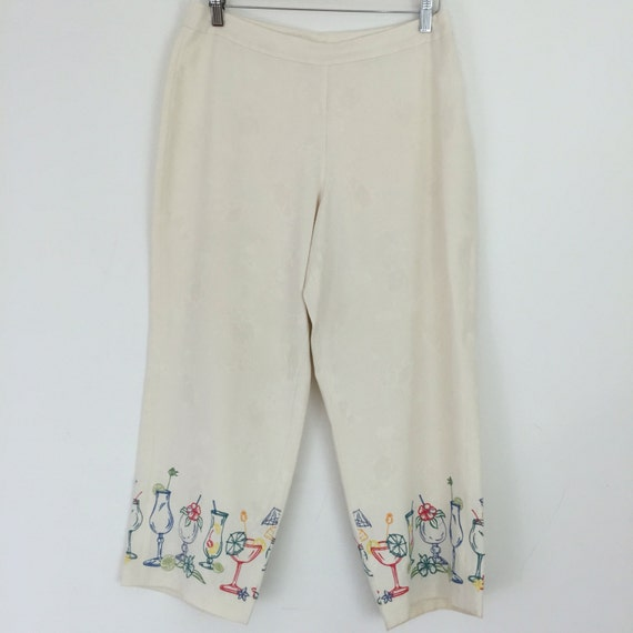 Vintage Novelty print 1950s style capri pants embroidered cocktail border print UK 16 Tommy Bahama silk cream 1980s does 50s VLV