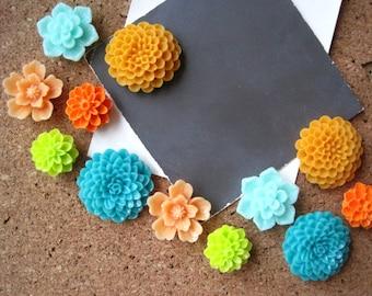 Bulletin Board Tacks, 12 Push Pins, Teal, Aqua, Orange and Lime Green, Flower Thumbtacks, Wedding Decor, Mod Decor, Housewarming Gift