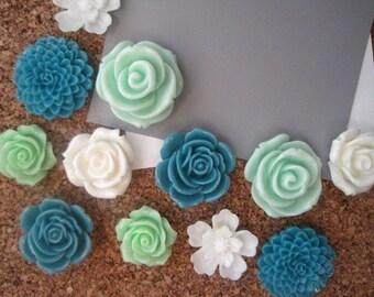 Flower Thumbtack Set, 12 pc Pushpin Set in Teal, White and Mint Green, Bulletin Board Tacks, Wedding Decor, Gifts, Housewarming Gift