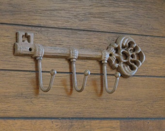 Chestnut Color Key Holder / Or Pick Your Color/Skeleton Key Rack /Cast Iron wall hook/Key Wall Decor/Kitchen Foyer Entrance Key/ Key Hanger