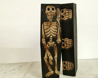 ViNTAGE MEXICAN DAY of the DEAD SkELETON CoFFIN BoX, DiA de LoS MuERTOS WooD carved SkELETON box SkULL, ArT & CoLLeCTiBLES, HoME and LiViNG