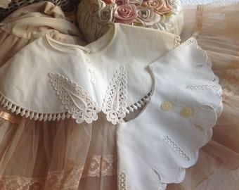 Two sweet vintage creamy white lace collars