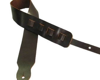 Adjustable Guitar Strap II Full Grain Cowhide Leather Acoustic or Electric - Mahogany