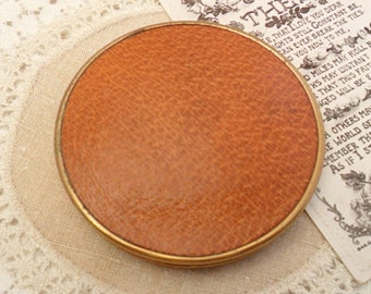 Vintage Leather Compact, Powder Compact, Make Up Mirror