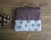 Cute little cosmetic zipper pouch, small wallet, hand printed, hand stamped fabric, beetles stamp, beetles