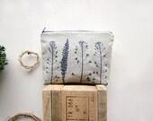 Linen Cosmetics pouch, Handprinted linen, plants stamp