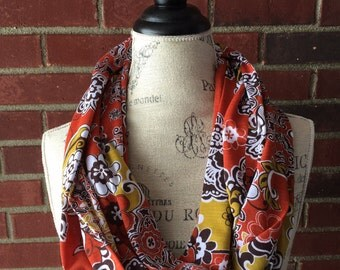 SALE-READY2SHIP-Fall scarf, burnt orange floral infinity scarf, circle scarf, teacher gift
