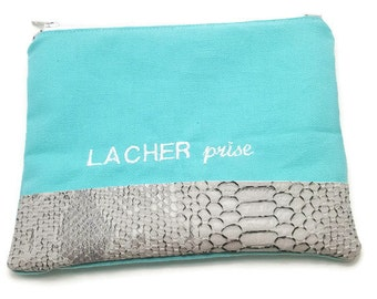 """Turquoise cotton woman clutch.Grey vegan leather imitation.White embroidery """"LACHER prise"""". Perfect gift handmade accessory dea-concept"""