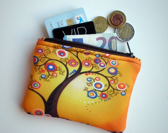 Coin purse, Small zipper pouch, Tree of life, Card wallet, Padded, Gift for her, Pouch