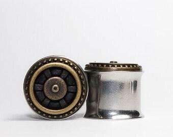 CLEARANCE: Bronze Steampunk  Plugs, gauges  3/4, 7/8