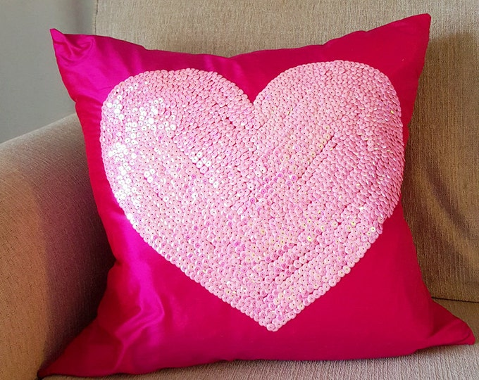 hot pink silk pillow cover with sequined heart