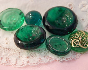 Green Glass Buttons - Transparent or Translucent 6