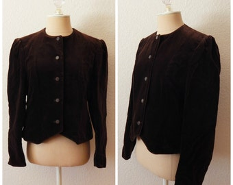 Vintage 60s Saks Fifth Avenue Brown Cropped Womens Western Victorian Riding Coat Small Medium