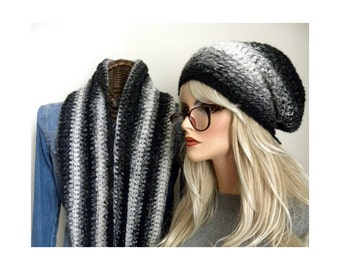 Winter Hat Set, Shades of Gray infinity Scarf Set, Crocheted Slouch Hat, Winter Hat Set, Winter Accessory, Ready to ship