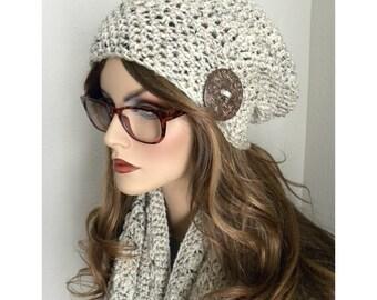 Winter Hat & Scarf Set, Beige tweed Infinity Scarf Set, Slouchy Hat, Infinity Scarf, Crochet Infinity Scarf, Warm Hat