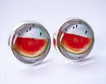 watermelon cabochon earring studs