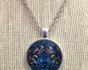 "14"" Funky Kaleidoscope Glass Pendant Necklace"