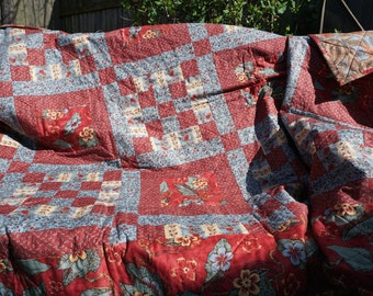Red, Blue, and Cream Floral Twin Size Quilt