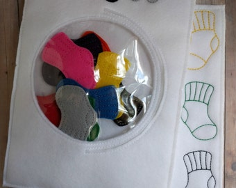 Sock Color Matching Game, Embroidered Acrylic Felt, Socks, Dryer, and Matching Board, Educational Preschool Game, Made in USA