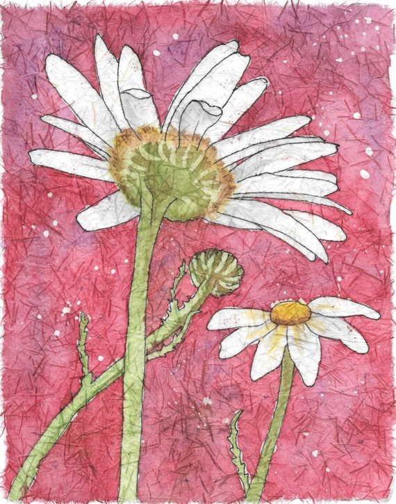 Daisies Watercolor Batik On Rice Paper By Natureartbylynn