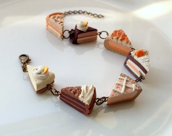 Cake Slice Bracelet, Polymer Clay Miniature Food Jewellery Chocolate Lemon Cheesecake Gifts for Her Gift Idea