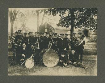Kingston PA military music band w tuba drum trombone antique photo
