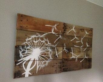 Dandelion Wall Art, In White,Pallet Art,21x21, 2 piece,Blowing Dandelion,Dandelion Art,Dandelion Painting,rustic wood planks,reclaimed wood,