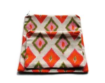 Reusable Zipper Snack Sandwich Bags set of 2 Orange Green Beige DiamondsCotton Twill