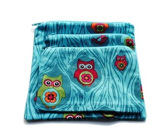 Reusable Sandwich Snack Bags Set of 3 Zipper Turquoise Owls