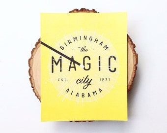 Magic City Illustration | Birmingham Poster  |  Yellow  |  Birmingham, Alabama